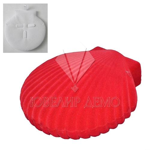Футляр «ракушка» красный, для колье и гарнитура.