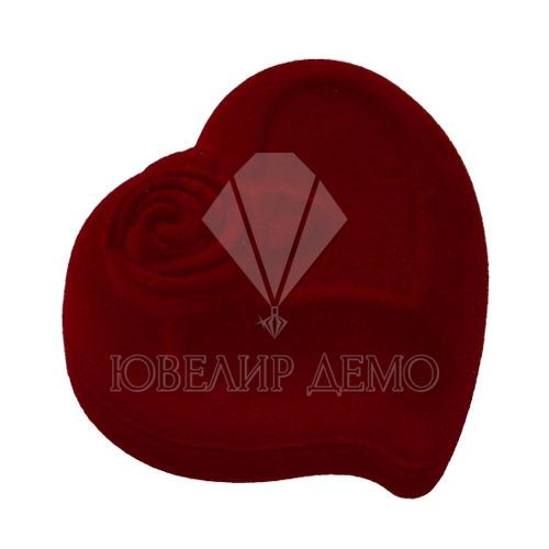 Футляр «сердце с розой» бордовый, для кольца.