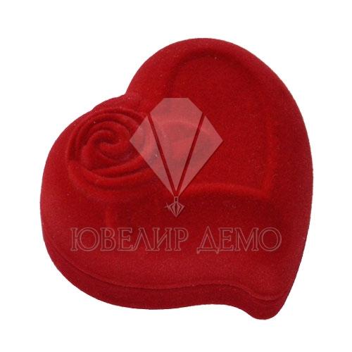 Футляр «сердце с розой» красный для серьг Ювелир Демо