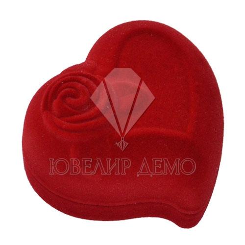 Футляр «сердце с розой» красный внутри красный универсальная прорезь Ювелир Демо