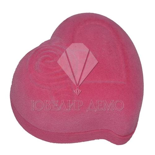 Футляр «сердце с розой» розовый внутри розовый универсальная прорезь Ювелир Демо