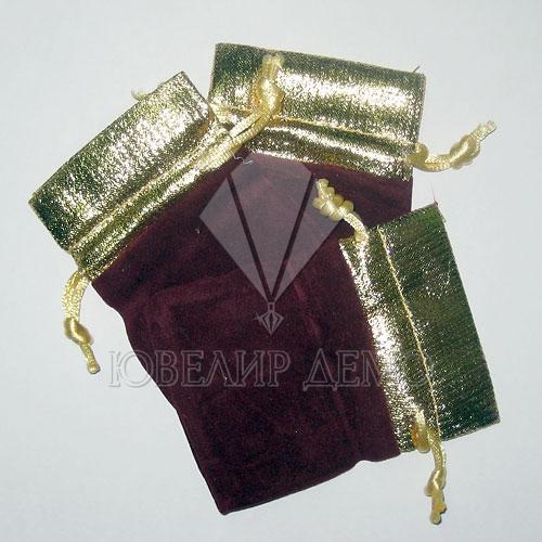 Мешок бордовый с золотом 6х8 см