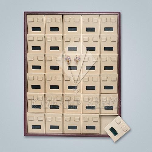 Планшет ювелирный квадраты с окошком под серьги Ювелир Демо